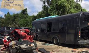 A private rental bus involved in a multiple car accident which killed two people is seen in a picture released by the Louisiana State Police