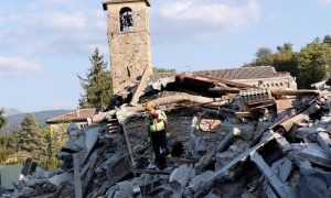 A rescue worker and a dog search among debris following an earthquake in Amatrice, central Italy,