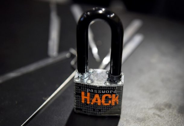 A padlock is displayed at the Alert Logic booth during the 2016 Black Hat cyber-security conference in Las Vegas, Nevada,