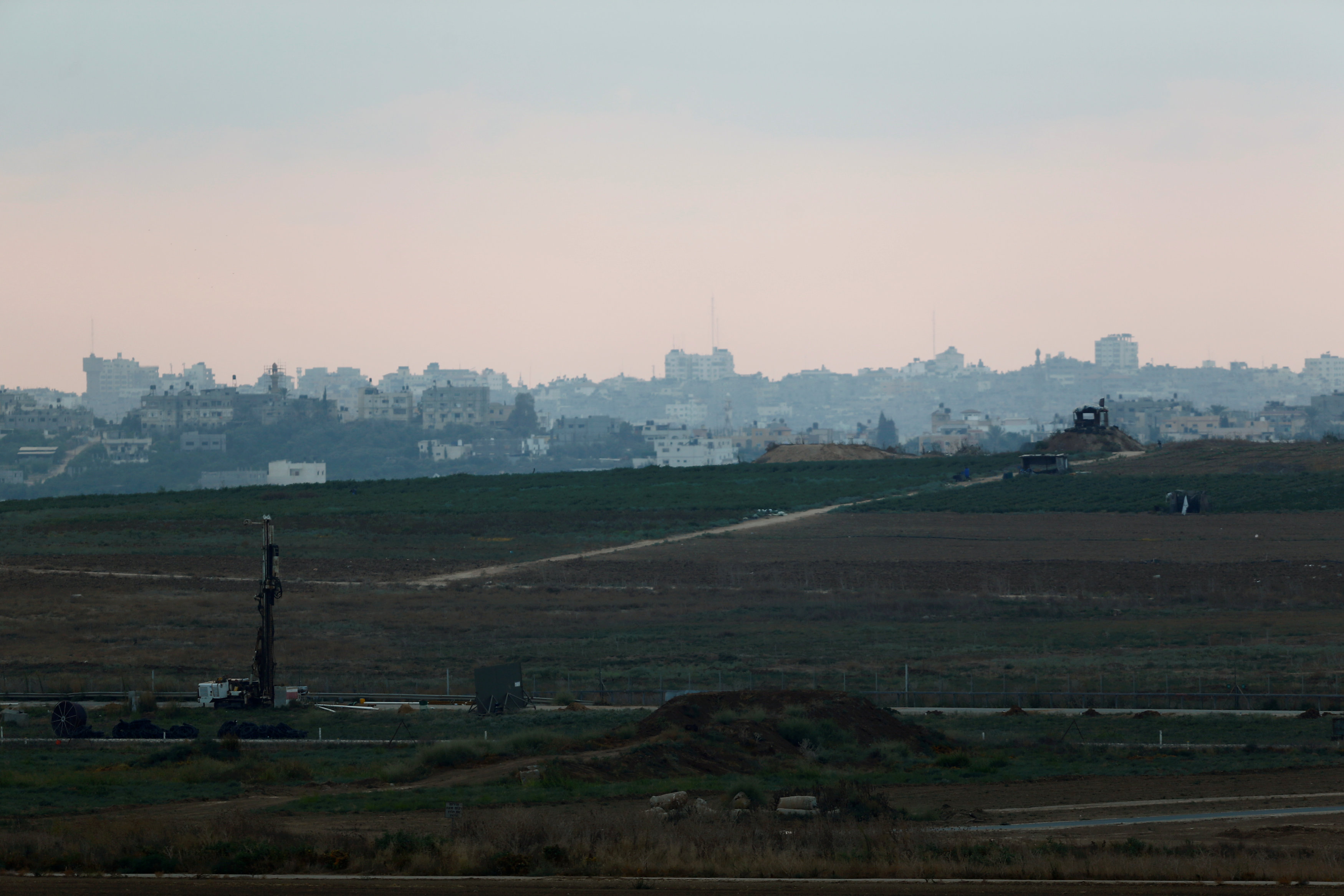 A general view shows the Israeli border with the Gaza Strip, as seen from the Israeli side,