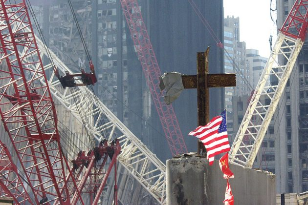 The Ground Zero Cross watching over workers