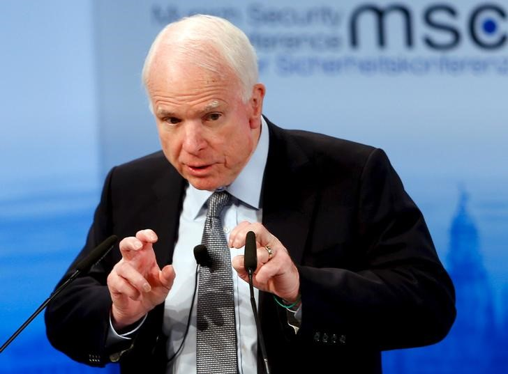 U.S. Senator John McCain speaks at the Munich Security Conference in Munich, Germany,