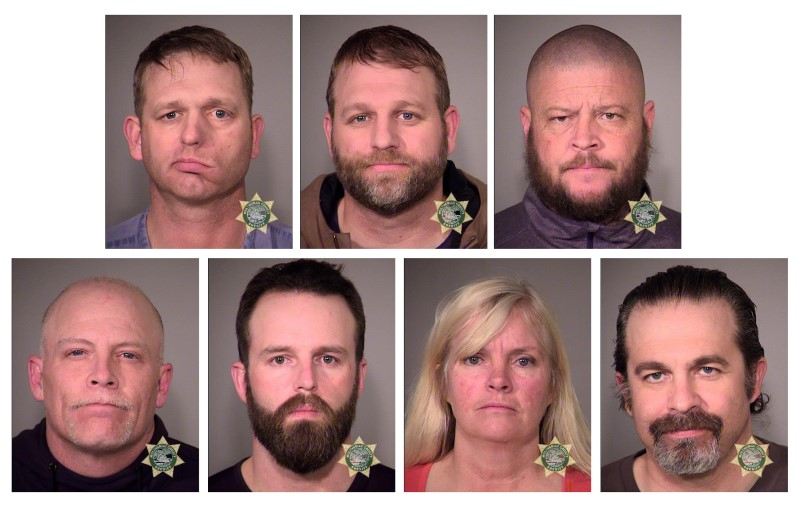Inmates (clockwise from top left) Ryan Bundy, Ammon Bundy, Brian Cavalier, Peter Santilli, Shawna Cox, Ryan Payne and Joseph O'Shaughnessy, limited-government activists who led an armed 41-day takeover of the Malheur National Wildlife Refuge, are seen in a combination of police jail booking photos released by the Multnomah County Sheriff's Office in Portland, Oregon