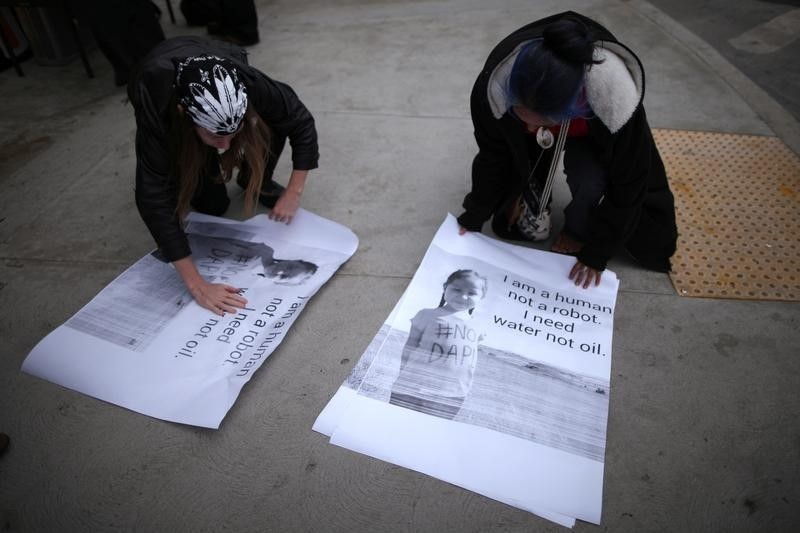 Protesters demonstrate against the Energy Transfer Partners' Dakota Access oil pipeline near the Standing Rock Sioux reservation, in Los Angeles