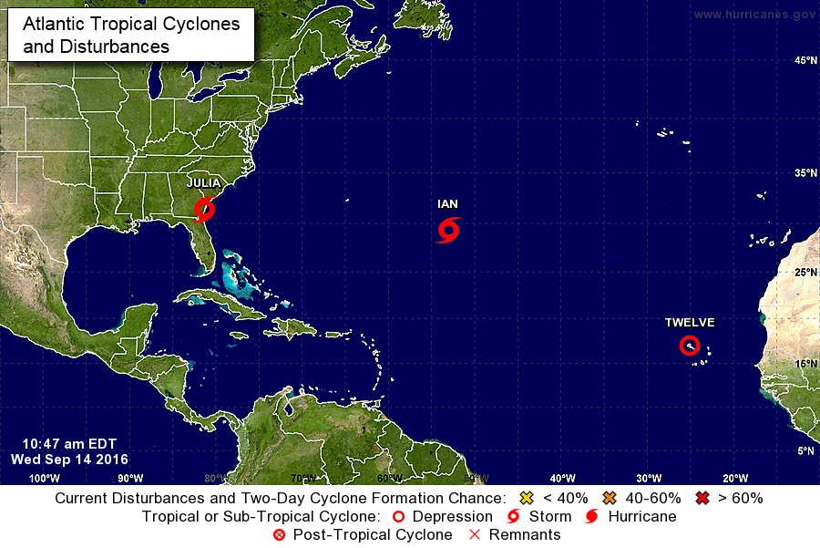 Tropical Storm Julia and other storms lined up in the Atlantic