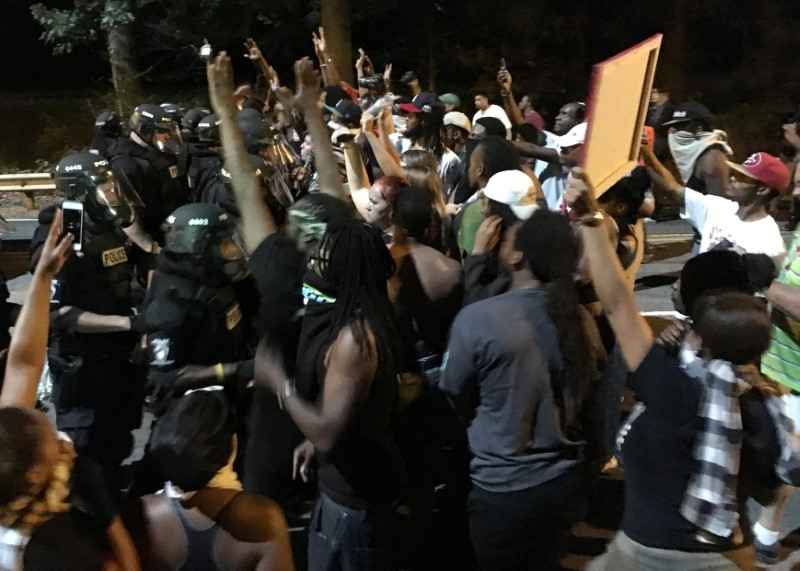Protesters in Charlotte over the death of a black man