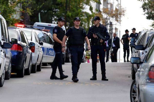 Riot police near Israeli Embassy in Turkey