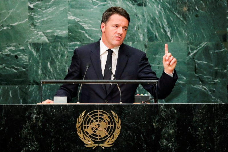Italian Prime Minister Renzi addresses the United Nations General Assembly in the Manhattan borough of New York