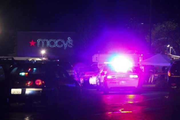 Authorities are pictured at the Cascade Mall following reports of an active shooter in Burlington, Washington,