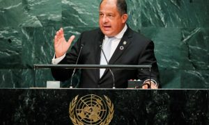 Costa Rican President Luis Guillermo Solis Rivera addresses the United Nations General Assembly in the Manhattan borough of New York, U.S. September 20, 2016.