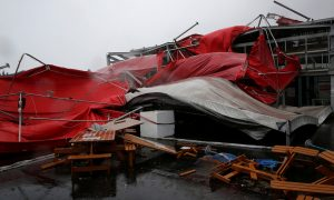 A damaged tent is see as Typhoon Megi hits Hualien, eastern Taiwan,