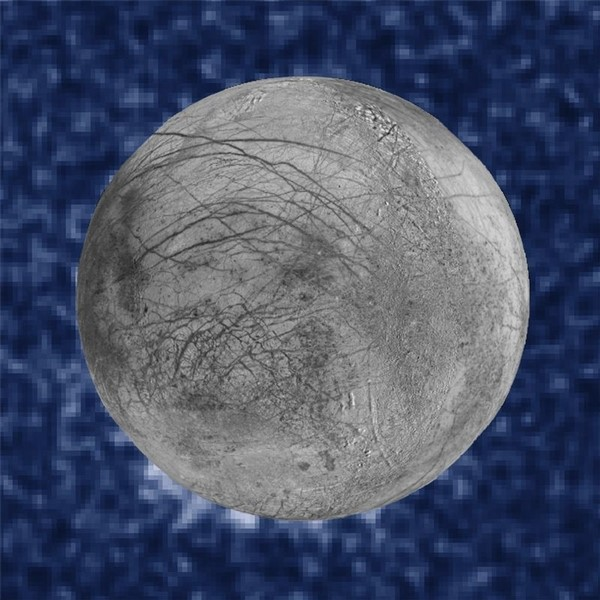 A composite image shows suspected plumes of water vapor erupting at the seven o'clock position off the limb of Jupiter's moon Europa in a NASA Hubble Space Telescope picture taken January 26, 2014 and released September 26, 2016.