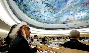 Dave Archambault II, chairman of the Standing Rock Sioux tribe, waits to give his speech against the Energy Transfer Partners' Dakota Access oil pipeline during the Human Rights Council at the United Nations in Geneva, Switzerland