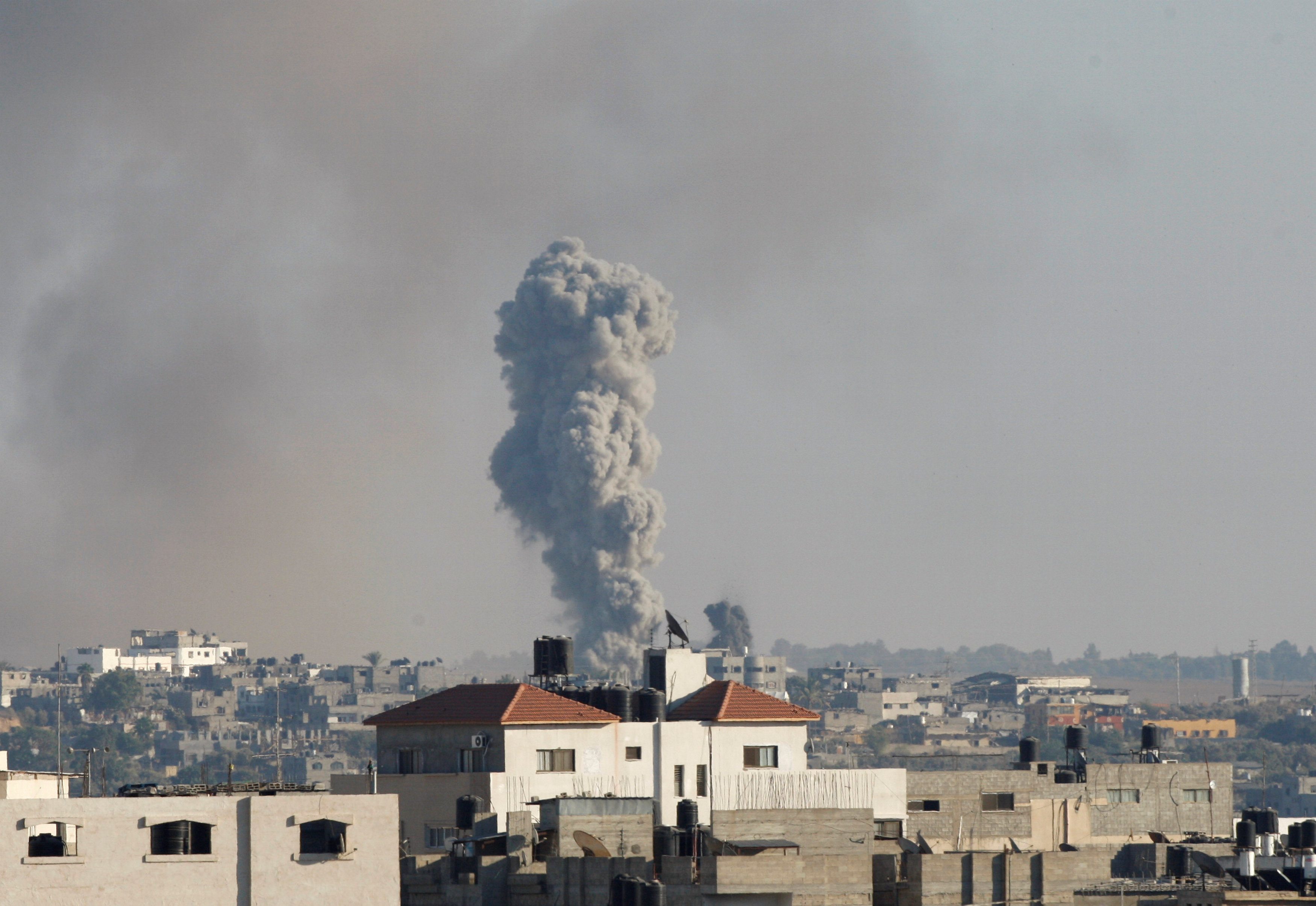 Smoke rises following what witnesses said was an Israeli air strike, east of Gaza City