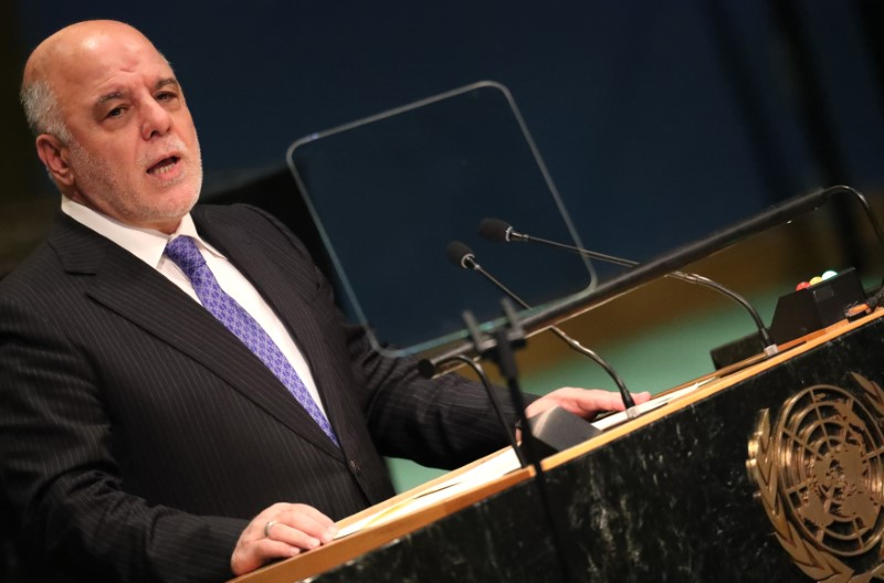Prime Minister Haider Al-Abadi of Iraq addresses the United Nations General Assembly in the Manhattan borough of New York, U.S.,