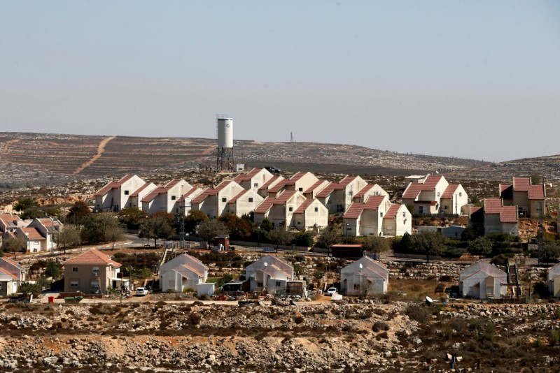 A general view shows houses in Shvut Rachel, a West Bank Jewish settlement located close to the Jewish settlement of Shilo, near Ramallah