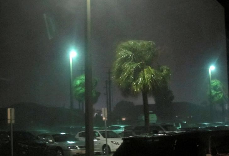 Rain falls and winds caused by storm are seen while Hurricane Matthew approaches in Melbourne, Florida,