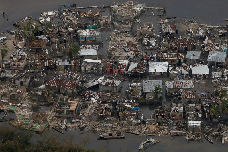 Destroyed houses are seen in a village after Hurricane Matthew passes Corail, Haiti,