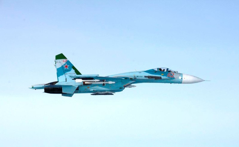 Picture of Russian SU-27 fighter violating Finland's airspace near Porvoo, Finland,