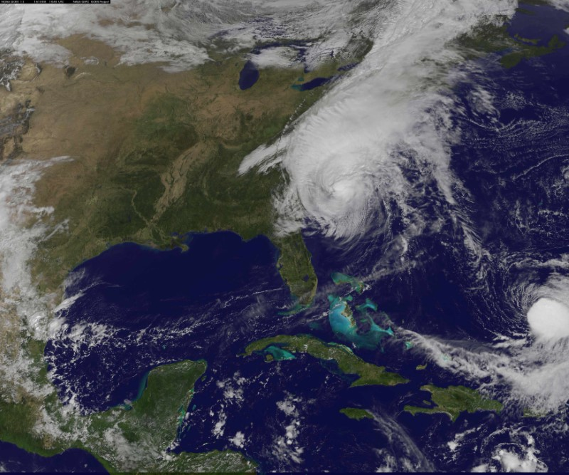 Hurricane Matthew's center is seen near the coast of South Carolina, U.S. in this NOAA's GOES-East satellite image