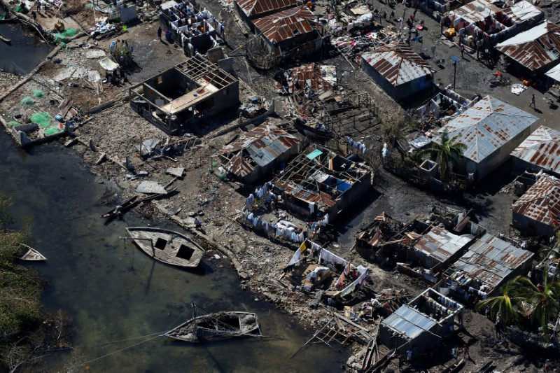 Destroyed houses are seen after Hurricane Matthew passes in Corail, Haiti