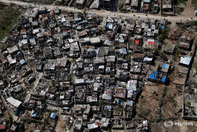 Damaged houses are seen after Hurricane Matthew passes in Jeremie, Haiti,