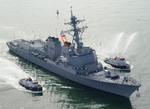 The USS Mason (DDG 87), a guided missile destroyer, arrives at Port Canaveral, Florida