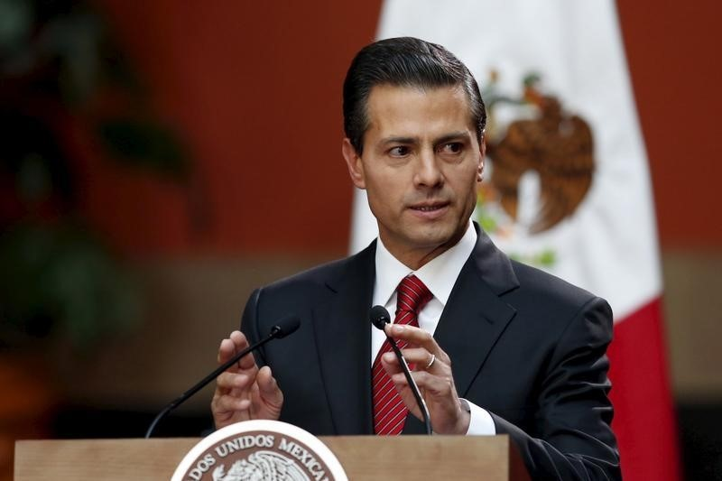 Mexico's President Enrique Pena Nieto speaks during a news conference at the National Palace in Mexico City, Mexico