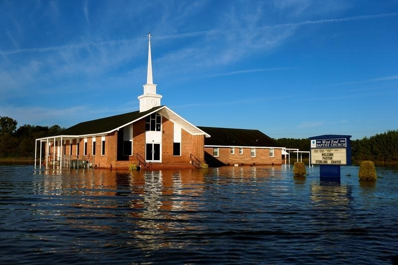 A flooded church is pictured after Hurricane Matthew passes in Lumberton, North Carolina