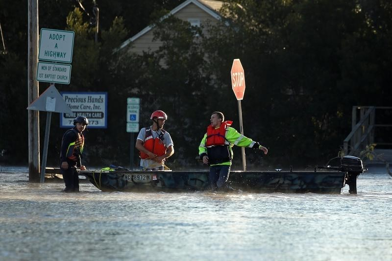rescue workers during floods in North Carolina