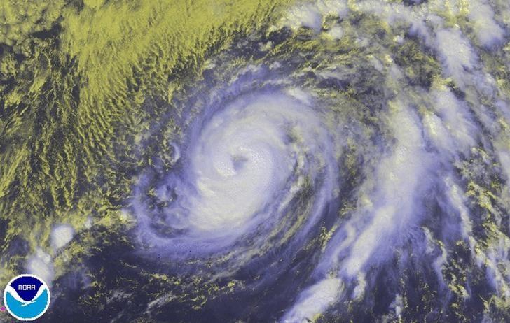 Hurricane Nicole is seen in the Atlantic Ocean in an image from NOAA's GOES-East satellite
