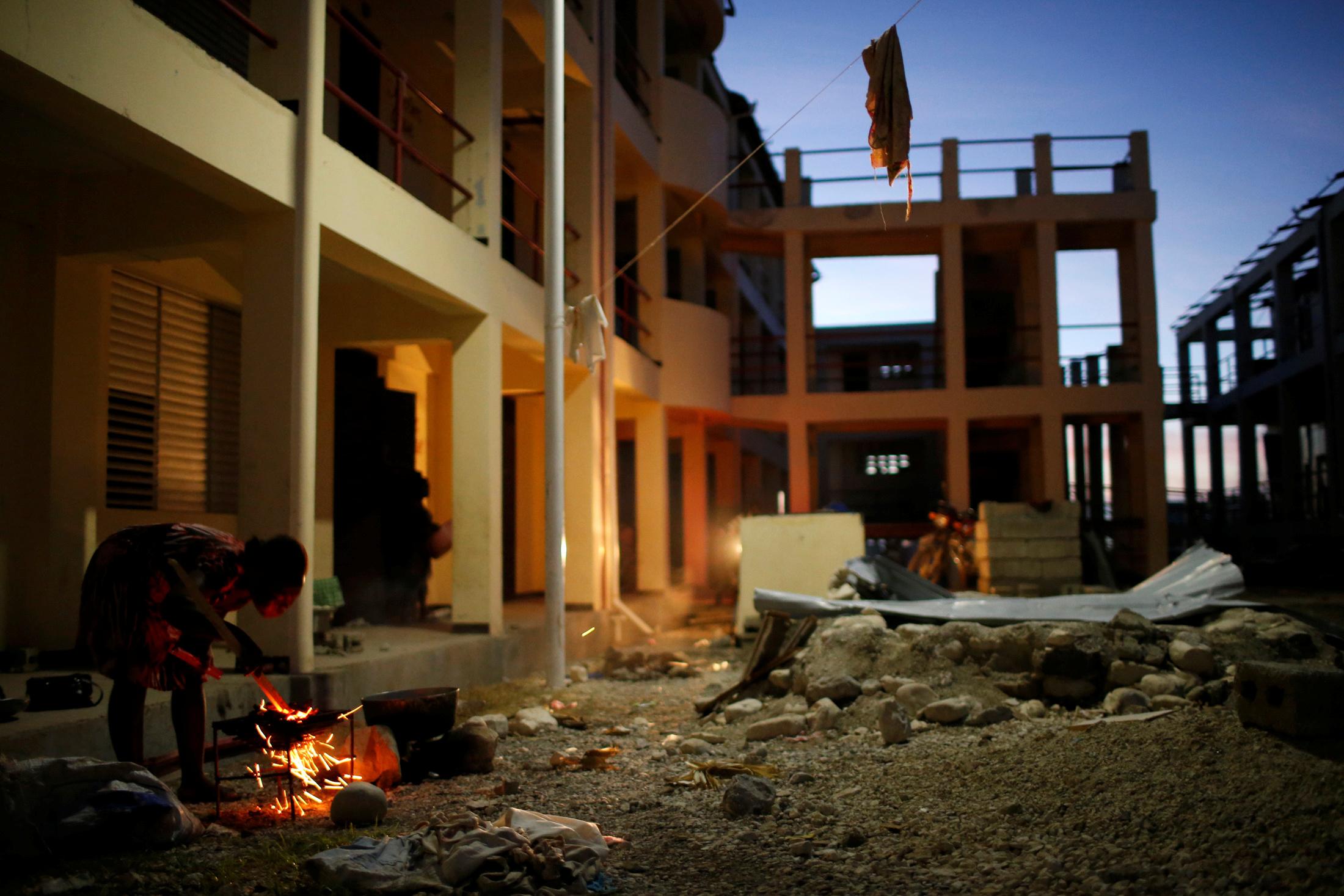 partially destroyed school in Haiti