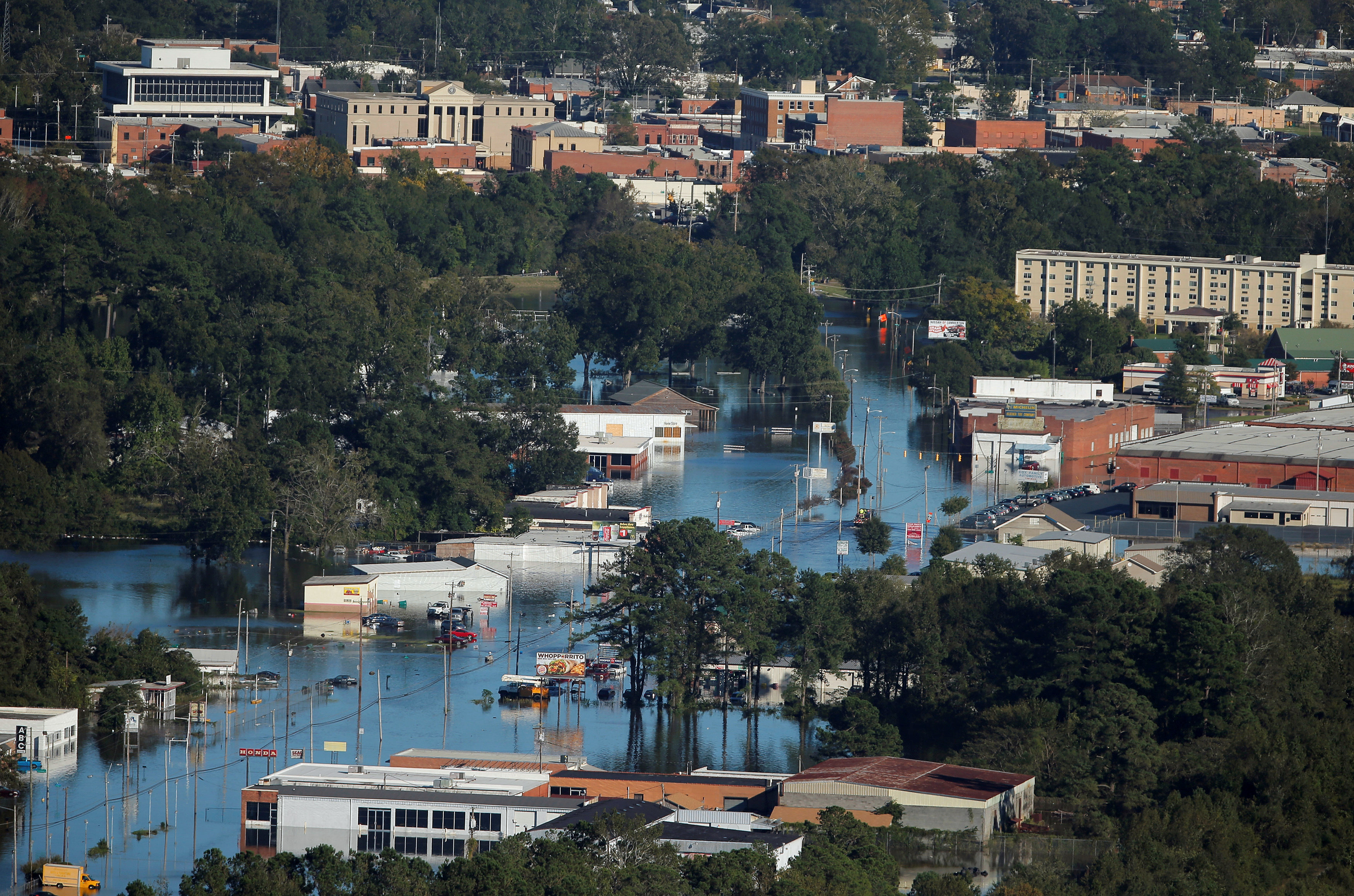 An aerial view shows flood waters after Hurricane Matthew in Lumberton, North Carolina