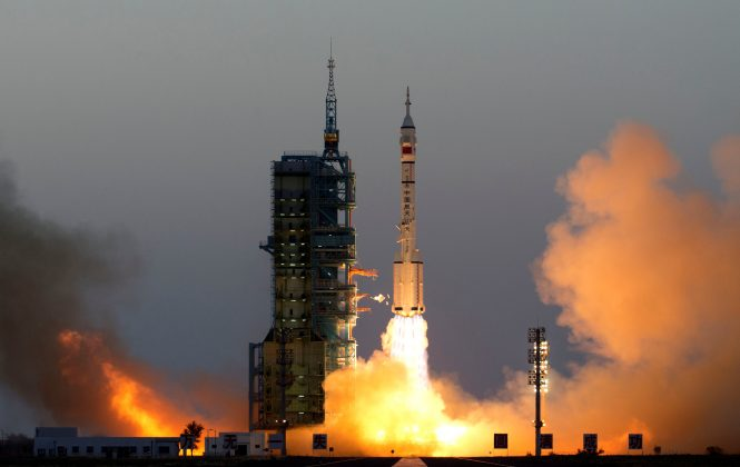 Shenzhou-11 manned spacecraft carrying astronauts Jing Haipeng and Chen Dong blasts off from the launchpad in Jiuquan, China,