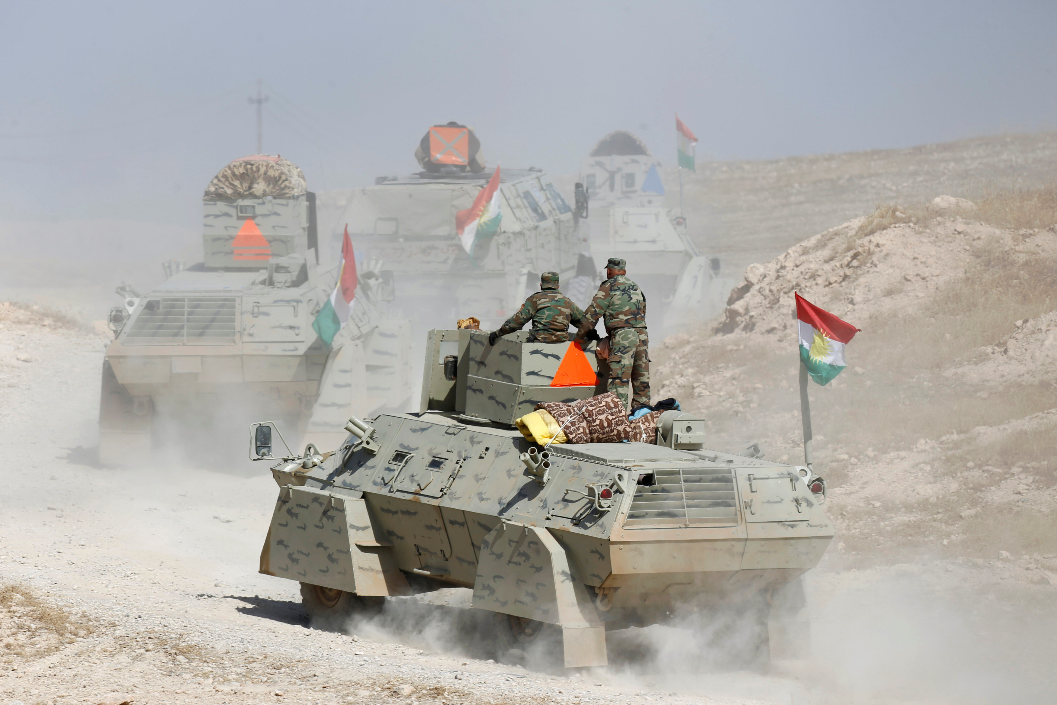 Peshmerga forces advance in the east of Mosul to attack Islamic State militants in Mosul,