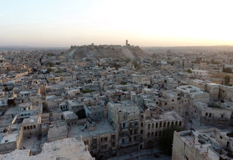A general view taken with a drone shows Aleppo's historic citadel, controlled by forces loyal to Syria's President Bashar al-Assad, as seen from a rebel-held area of Aleppo, Syria