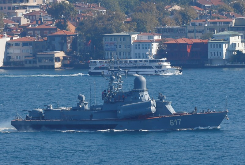 The Russian Navy's missile corvette Mirazh sails in the Bosphorus, on its way to the Mediterranean Sea, in Istanbul, Turkey