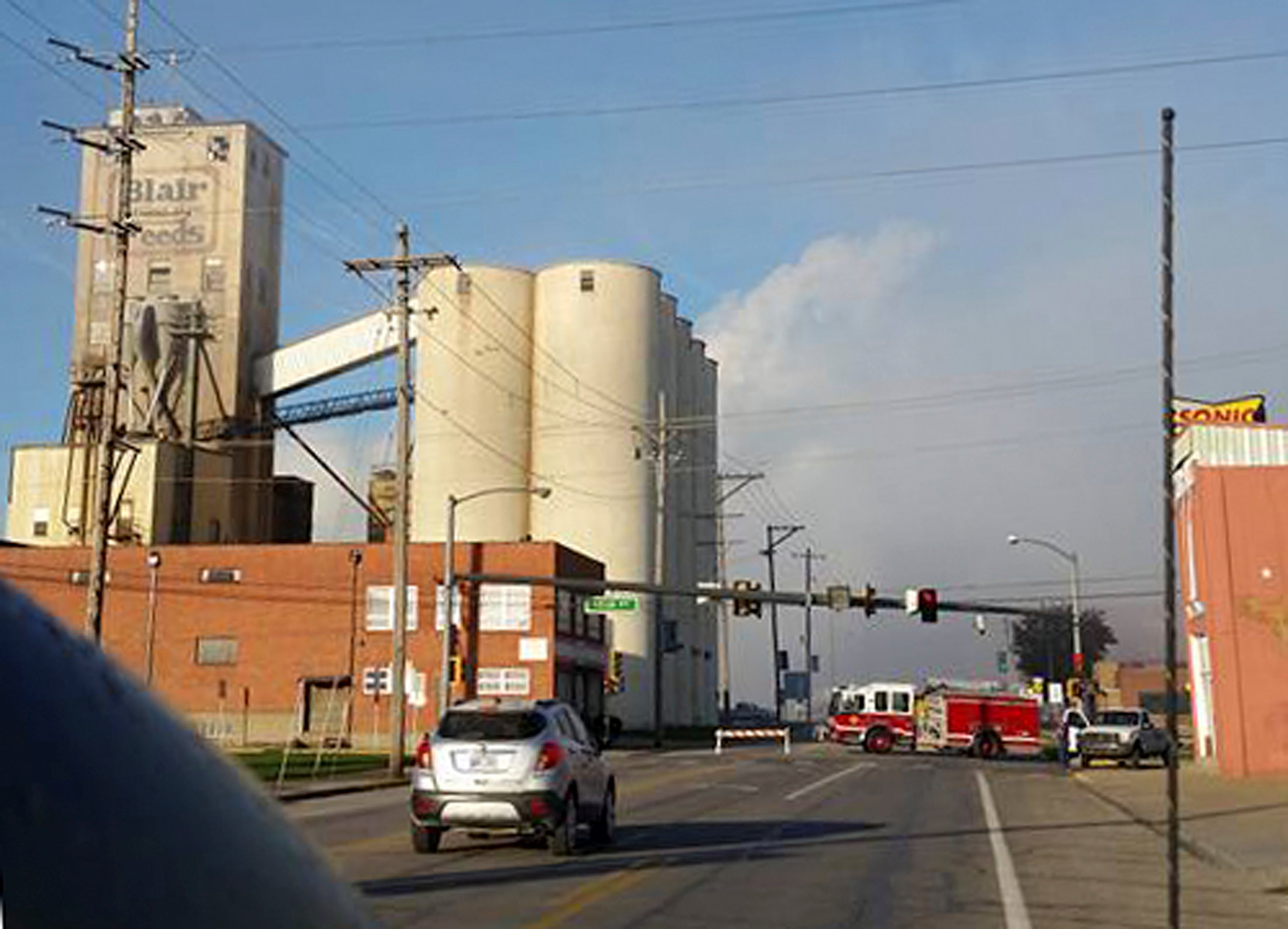 First responders are seen at the scene of a chemical spill at a facility in Atchison, Kansas,