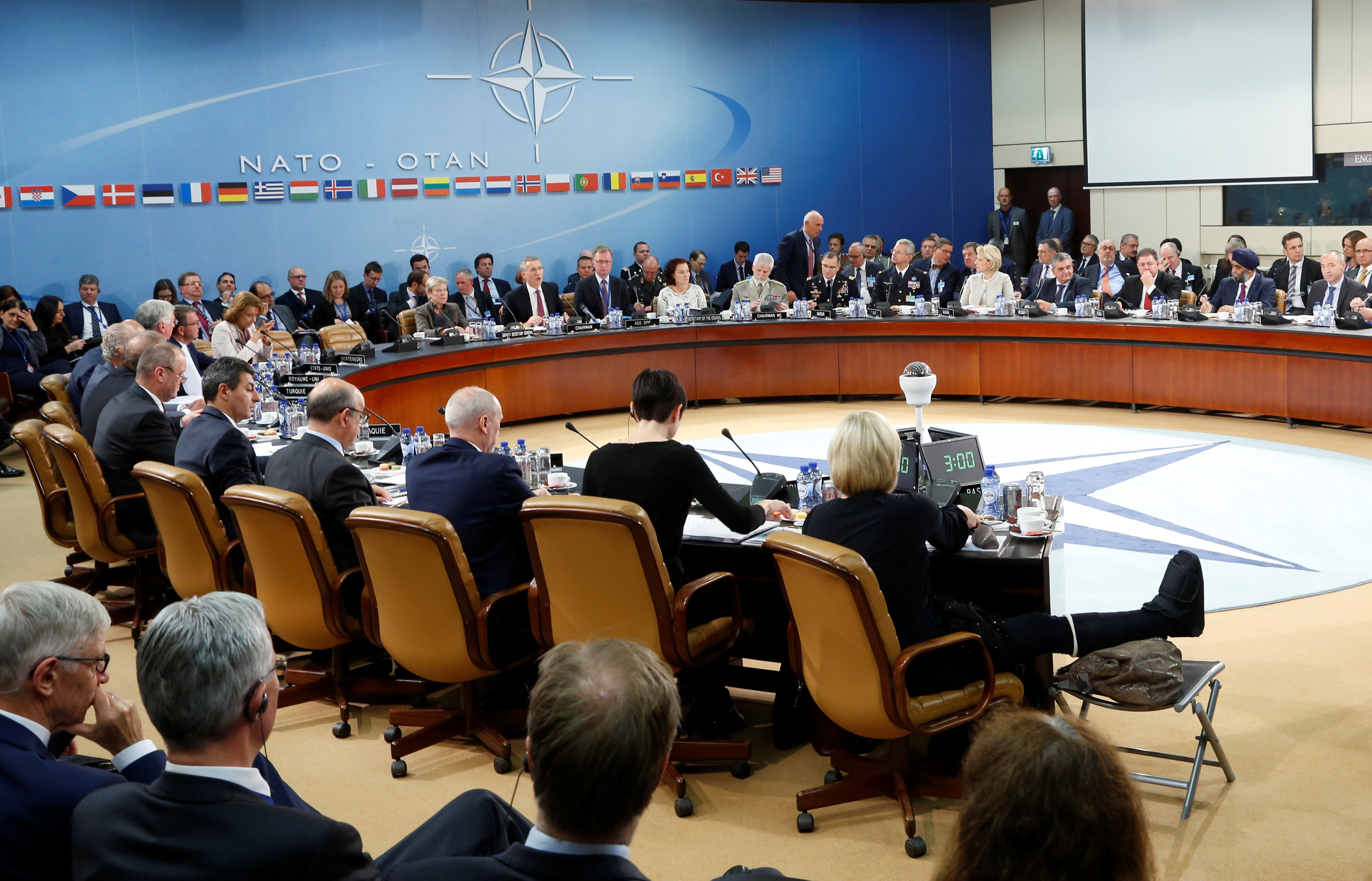 NATO defence ministers attend a meeting at the Alliance headquarters in Brussels, Belgium,