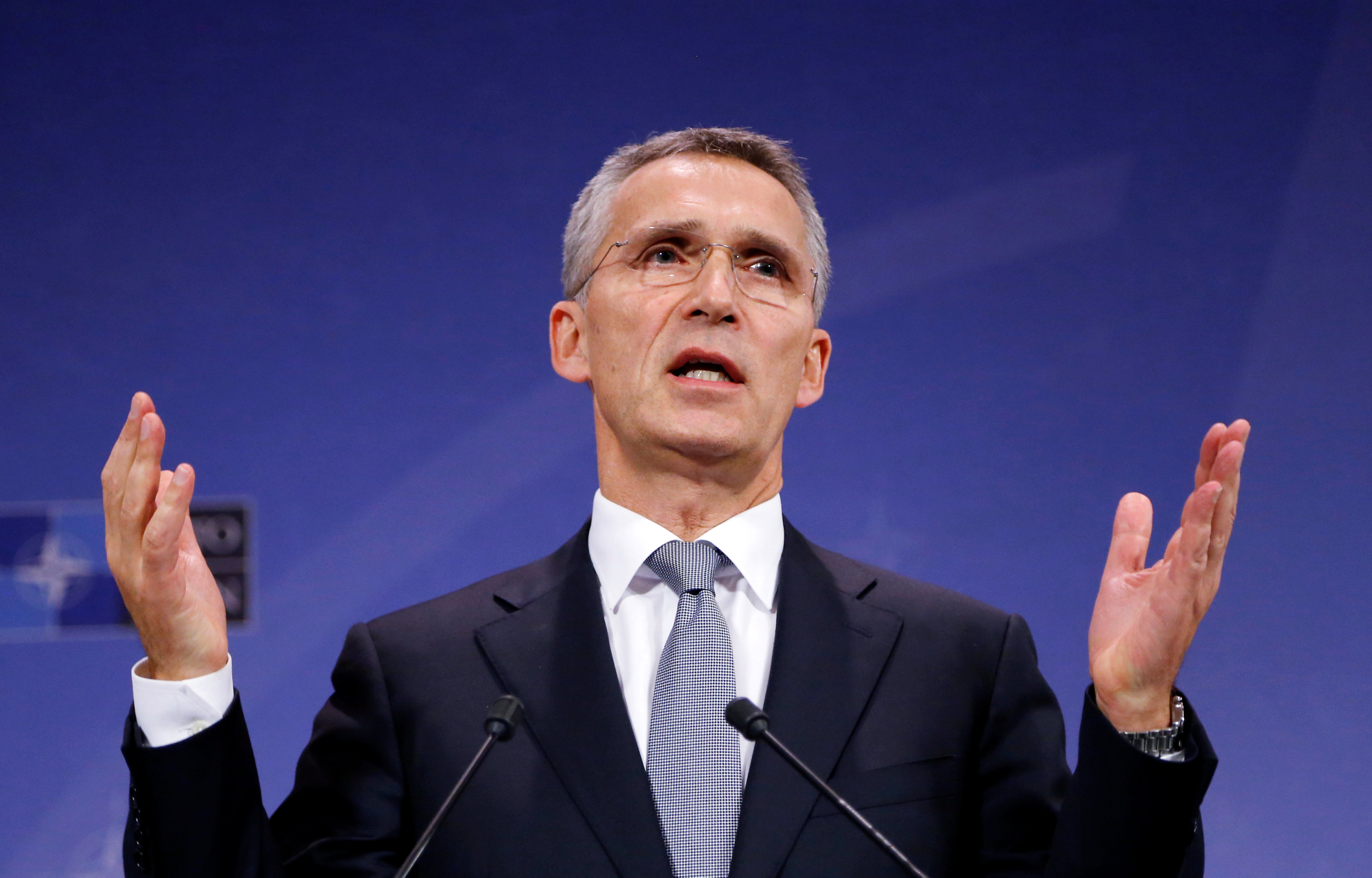 NATO Secretary-General Jens Stoltenberg addresses a news conference during a NATO defence ministers meeting at the Alliance headquarters in Brussels, Belgium,