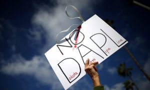 Protesters demonstrate against the Energy Transfer Partners' Dakota Access oil pipeline near the Standing Rock Sioux reservation, in Los Angeles, California