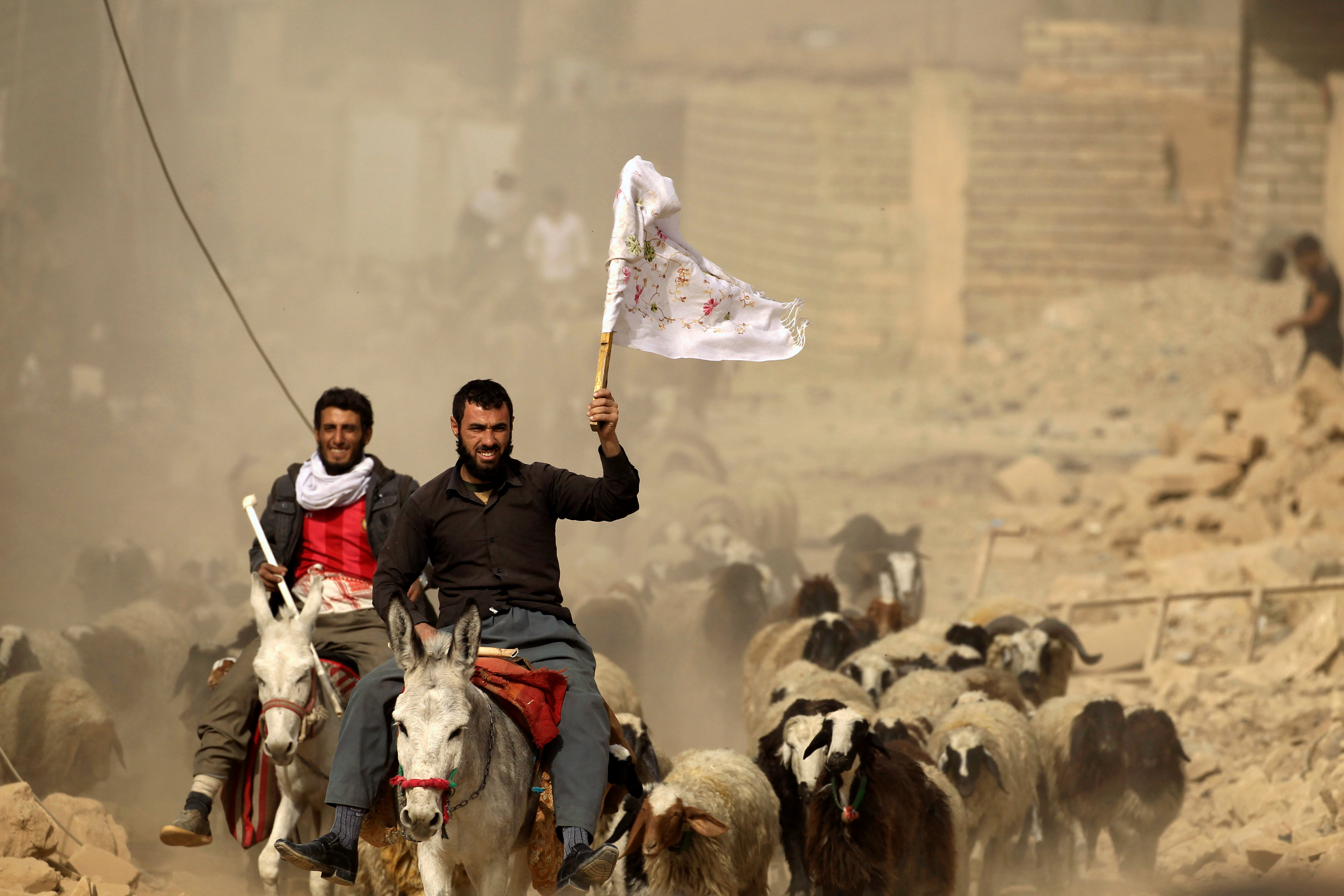 A man who just fled Bazwaia village carries a white flag as he arrives at a special forces checkpoint, east of Mosul, Iraq,