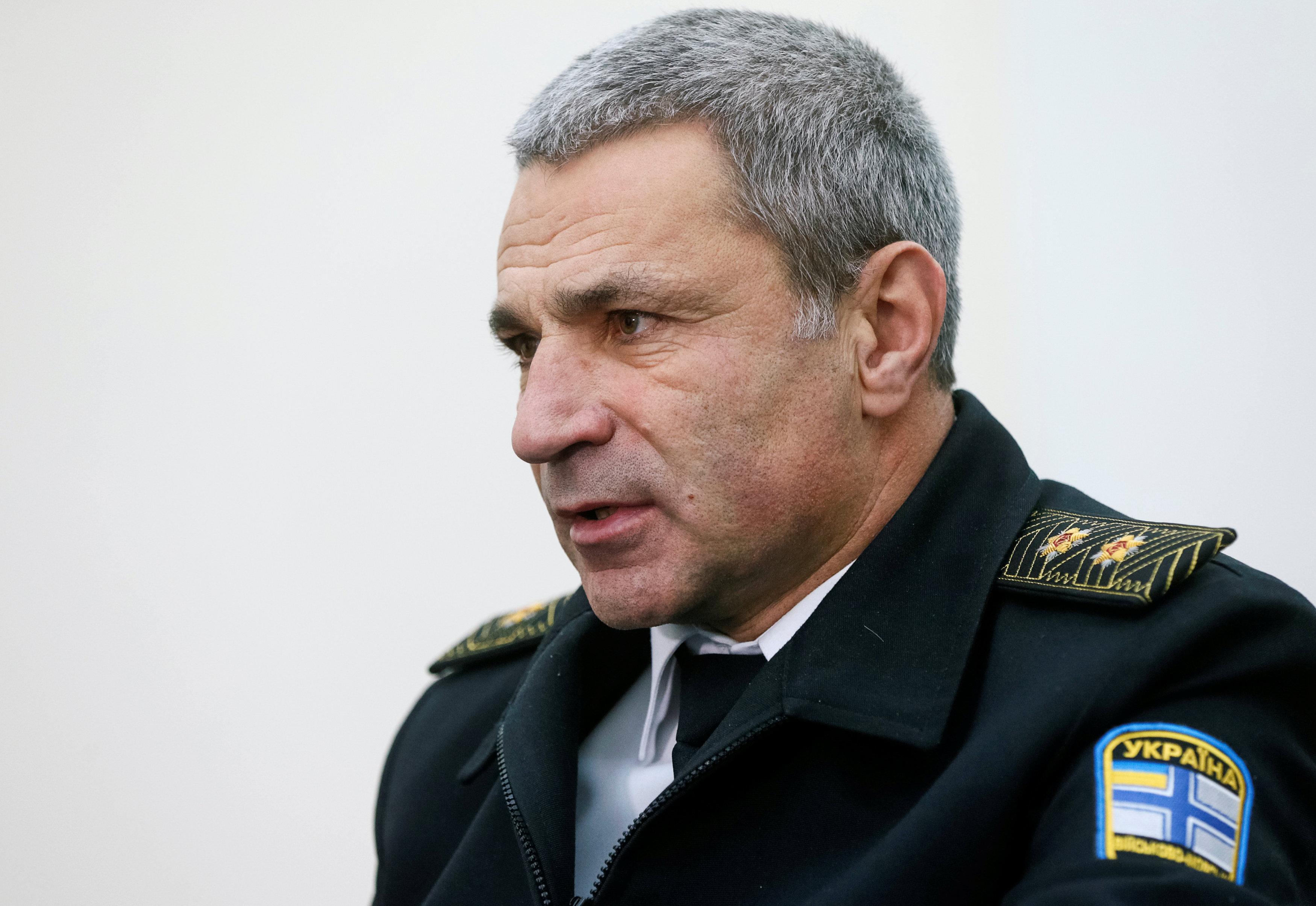 Vice Admiral Ihor Voronchenko, commander of the Ukrainian Navy, speaks during an interview with Reuters in Kiev, Ukraine,