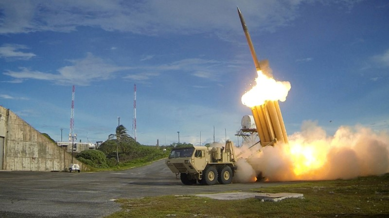 A Terminal High Altitude Area Defense (THAAD) interceptor is launched during a successful intercept test, in this undated handout photo provided by the U.S. Department of Defense, Missile Defense Agency. U.S. Department of Defense,