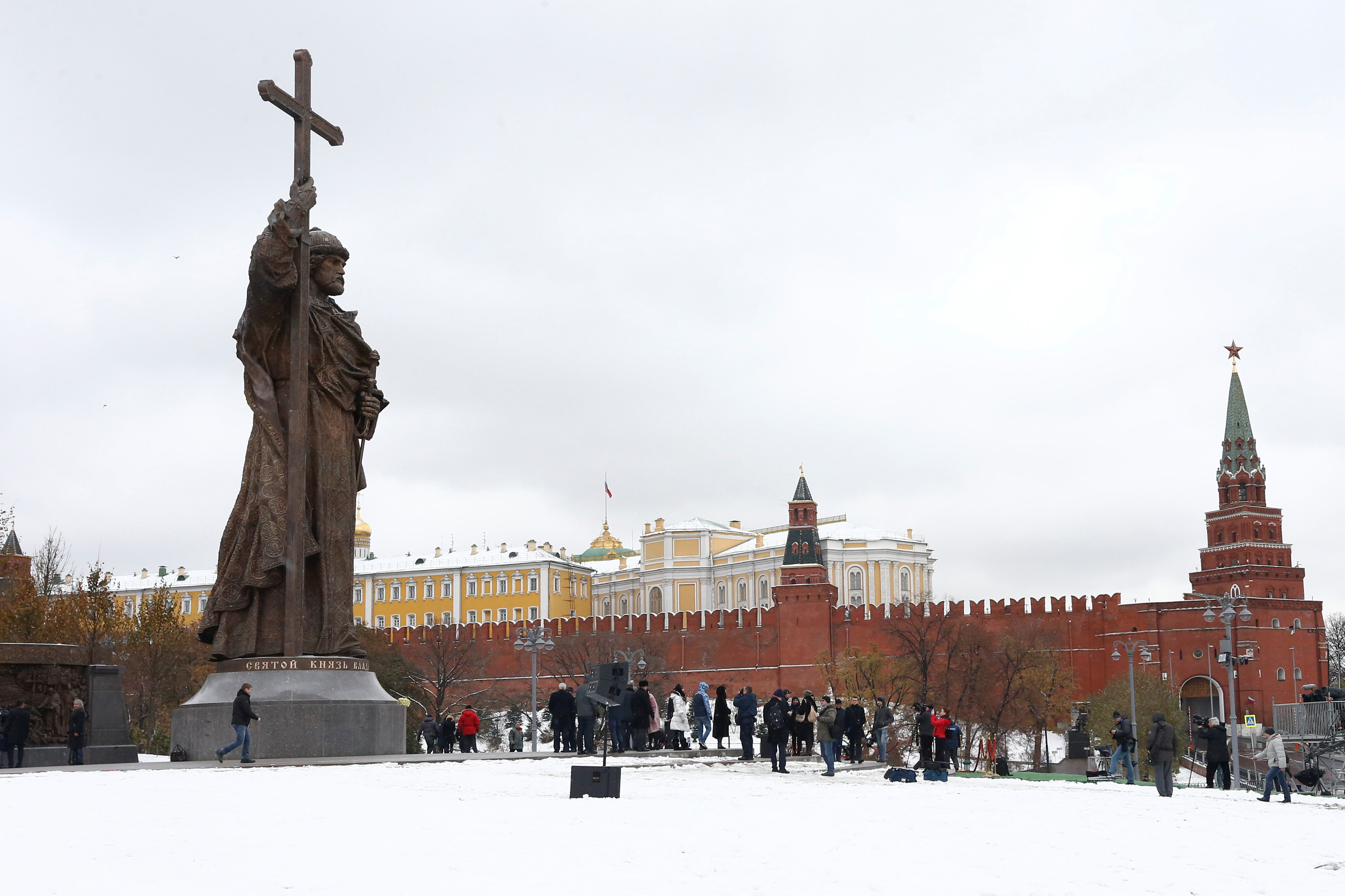 The newly unveiled monument of grand prince Vladimir I, who initiated the christianization of Kievan Rus' in 988AD, is seen in central Moscow, Russia,