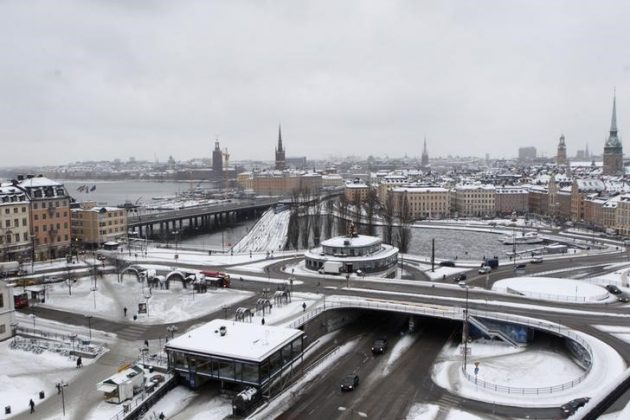 A general view shows Stockholm January 17,