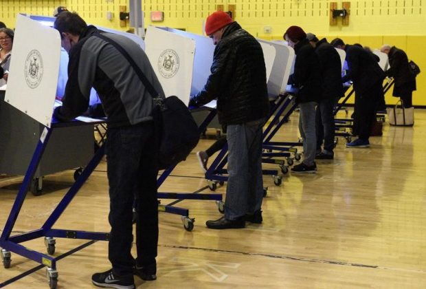 presidential election at Public School P.S. 56 in the Manhattan borough of New York, USA
