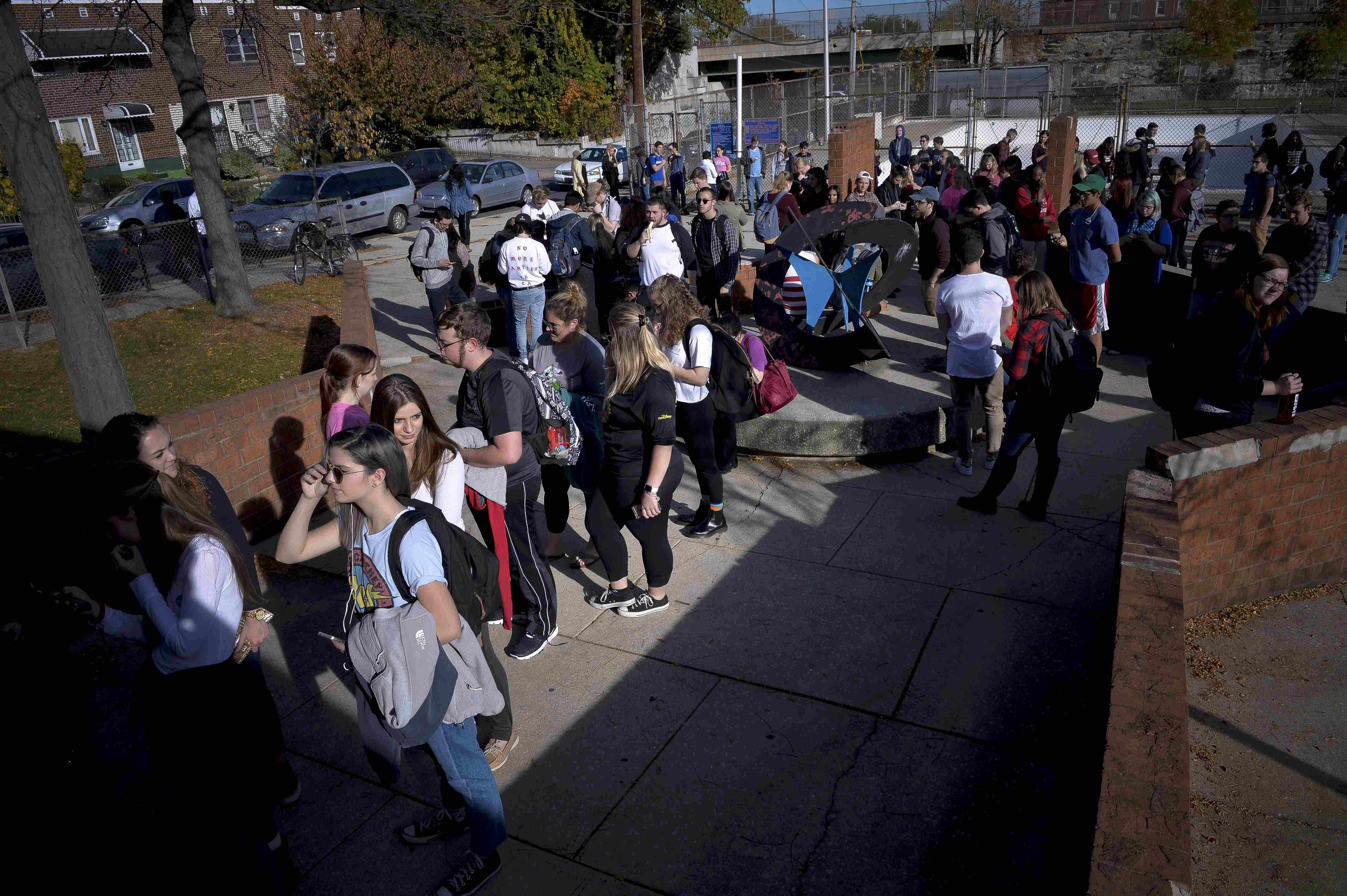Hundreds of Temple University students wait in an hour-long line to vote during the U.S. presidential election in Philadelphia, Pennsylvania, U.S.