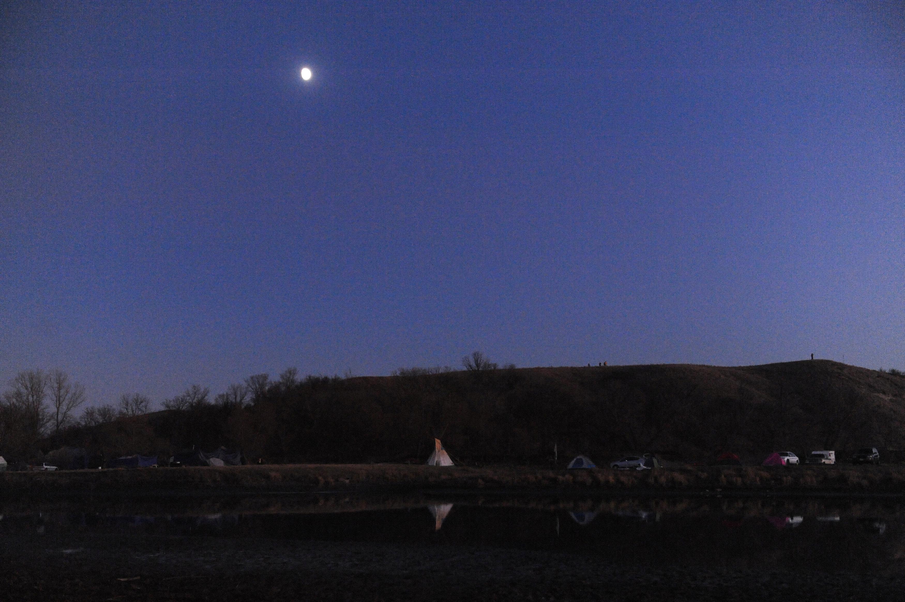Tipi at sunset protesting against Dakota Access Pipeline