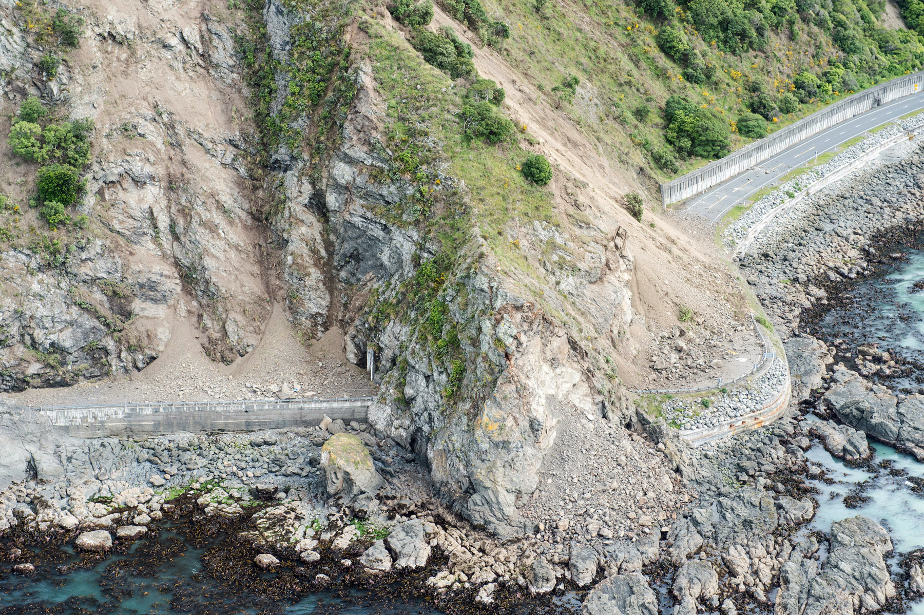 Landslide blocking road
